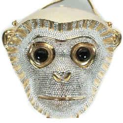 Judith Leiber - Monkey Head Shoulder Bag - Swarovski Silver Crystal Minaudiere
