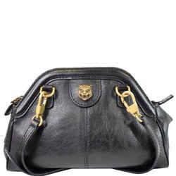 Gucci Gg Re(belle) Tiger Head Leather Crossbody Bag Black 524620
