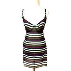 SONIA RYKIEL Black/Multicolor Striped Nylon-Blend Mini Slip/Tank Top