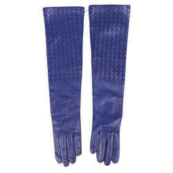 Bottega Veneta Gloves Blue Intrecciato Leather Long SZ 75