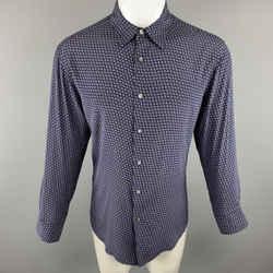 Theory Size M Navy Print Silk Blend Button Up Long Sleeve Shirt