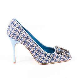 Manolo Blahnik Pumps Vazza Blue Tweed Crystal Square Toe SZ 39.5