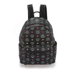 Vintage Authentic MCM Black Calf Leather Visetos Stark Skyoptic Backpack Germany