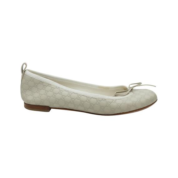 White Gucci Guccissima Leather Ballet Flats