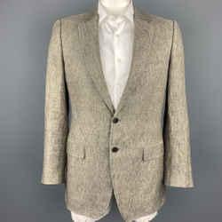 DOLCE & GABBANA Luxury Size 42 Taupe Heather Linen Notch Lapel Sport Coat