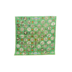 Authentic Hermes 100% Silk Scarf Pois de Soie Latham Green Peas 70cm Carre Paris