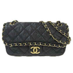 Auth Chanel Chanel Chain Me W Leather Shoulder Bag Black 4s