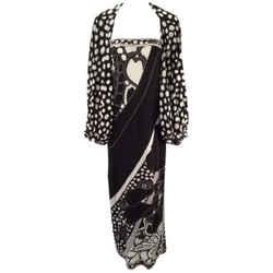 1960s Leonard Paris Silk Knit Spaghetti Strap Column Gown With Cocoon Shrug