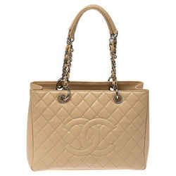 Chanel Beige Quilted Caviar Leather Grand Shopping Tote