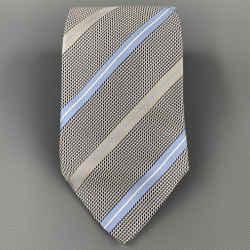 ERMENEGILDO ZEGNA Gray & Light Blue Diagonal Stripe Silk Tie