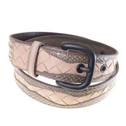 Vintage Authentic Bottega Veneta Pink Intrecciato Leather Belt Italy