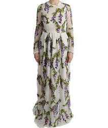 Dolce & Gabbana White Floral Embroidered Maxi Women's Dress