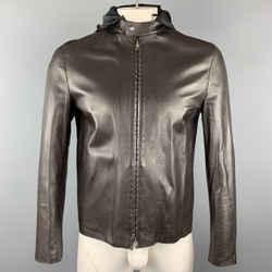 Neil Barrett Size M Brown Leather Zip Off Hood Biker Jacket