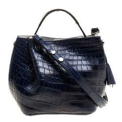 Dior Marine Blue Crocodile Small Diorific Bucket Bag