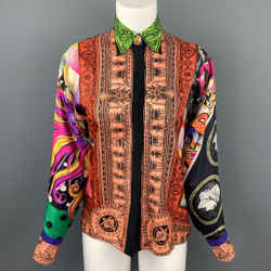 Vintage GIANNI VERSACE Size S Multi-Color Baroque Silk Gold Blouse