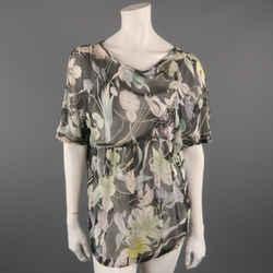 Dries Van Noten Size 10 Grey Floral Silk Chiffon Asymmetrical Blouse