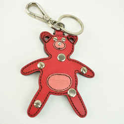 "PRADA ""Teddy Bear"": Pink, Saffiano Leather & Logo Key Chain/Fob/Bag Charm (mo)"