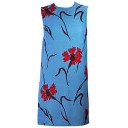 MIU MIU Blue with Red Floral Print Shift Dress Size 36