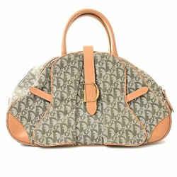Auth Christian Dior Trotter Canvas Saddlebag Handbag Green