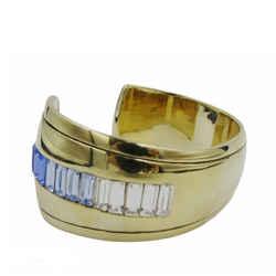 New St John Bracelet Cuff 24k Gold Electroplated Embellish Swarovski Crystal