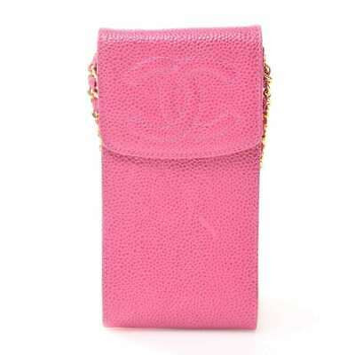 Auth Chanel Chanel Caviar Skin Coco Mark Chain Shoulder Pouch Cell Phone Case Pi