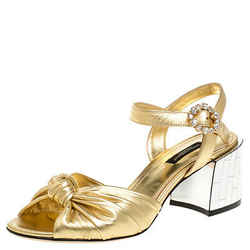 Dolce & Gabbana Metallic Gold Leather Mordore Mirror Heel Ankle Strap Sandals