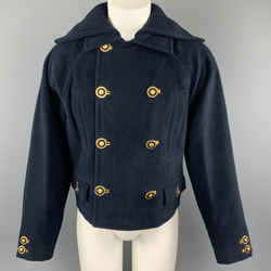 Gianni Versace Size M Navy Lana Wool / Cashmere Double Breasted Medusa Coat