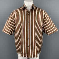 LANVIN Size S Brown & White Stripe Cotton Button Up Short Sleeve Shirt