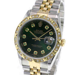Rolex Datejust Two-tone 36mm Green Dial Pyramid Diamond Bezel Watch-Quickset