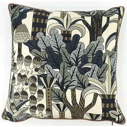 Auth Hermes Cotton,Silk Pillow/Cushion Blue,Brown,Gray,Green,Ivory,Khaki