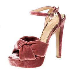 Charlotte Olympia Nude Pink Velvet Tiffani Platform Sandals Size 40