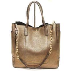 TIFFANY & CO. Leather Tote Bag RILEY Pebbled Bronze Large Shoulder Strap