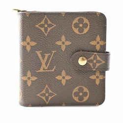 Auth Louis Vuitton Louis Vuitton Monogram Compact Zip Bi-fold Wallet Brown Pvc