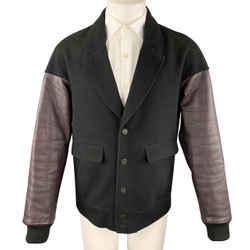 Alexander Wang Size M Black & Burgundy Mixed Materials Wool Leather Sleeves Notch Lapel Jacket