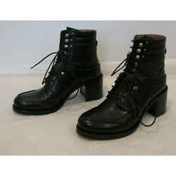 "Tabitha Simmons ""leo"" Black Learther Lace Up Ankle Boots - Size 37"