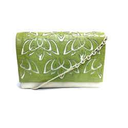 NANCY GONZALEZ Ivory Croc-skin Green Floral Cut-Out Lizard Flap Shoulder bag / Clutch Bag