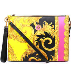 Versace - New - Leather Baroque Medium Shoulder Wristlet Bag - Black Yellow Pink