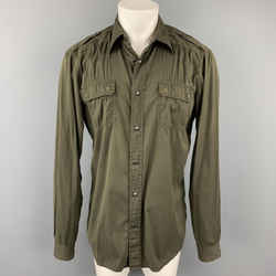 PRADA Size L Olive Cotton Blend Snaps Long Sleeve Shirt