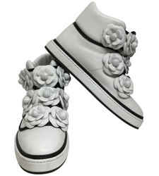 Chanel White Camellia High Top Sneakers Size: EU 39 (Approx. US 9) Regular (M, B) Item #: 24638431
