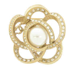 Vintage Authentic Chanel Gold  Metal Rhinestone Flower Faux Pearl Brooch France