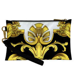 New Versace Barroco Black-gold Canvas Top Zip Flat Clutch Bag Pouch