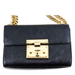 Gucci Calfskin Small Padlock Shoulder Bag Black One Size