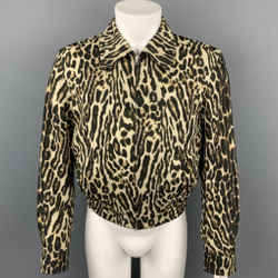 DRIES VAN NOTEN S/S 20 Size 34 Tan & Black Leopard Print Wool Jacket