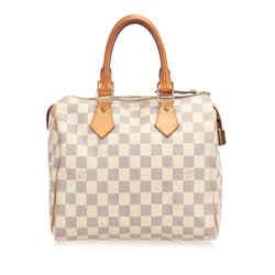 Vintage Authentic Louis Vuitton White Damier Azur Speedy 25 France