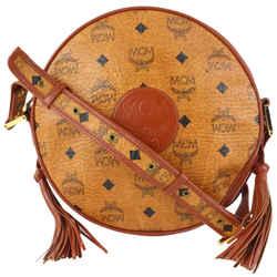 MCM Cognac Monogram Visetos Round Crossbody Bag 916mcm89