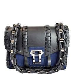 PROENZA SCHOULER Hava Whipstitch Leather Chain Shoulder Bag Navy Blue
