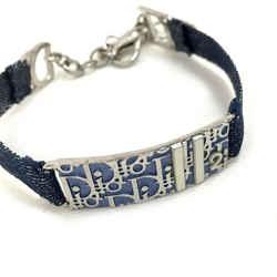 Christian Dior      Navy Blue Denim Monogram Oblique Trotter Bracelet Bangle Cuff 861190