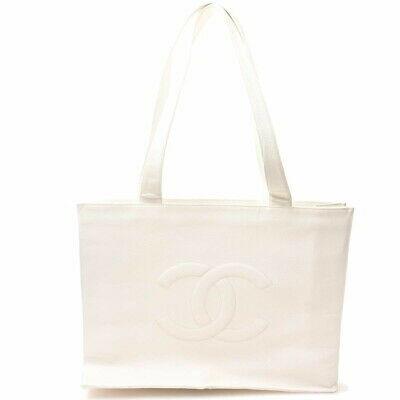Auth Chanel Chanel Caviar Skin Deca Coco Mark Shoulder Bag White