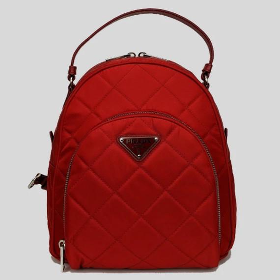 NEW Prada Nylon Red Zaino Quilted Tessuto Impuntu Backpack Rucksack Bag