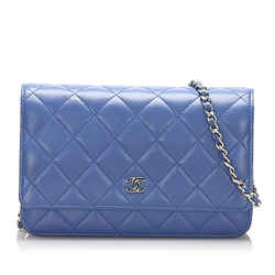 Blue Chanel CC Timeless Lambskin Leather Wallet On Chain